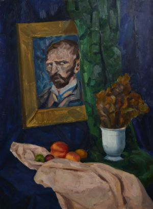 Painting, Academism -  still life with peaches and Van Gogh