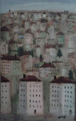 Painting, Expressionism - City