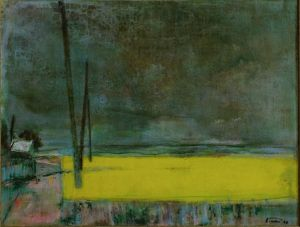 Painting, Expressionism - Rapeseed in the rain