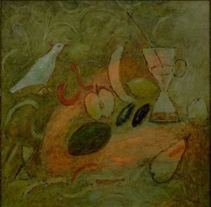 Painting, Expressionism - Still Life with a Bird