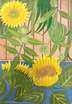 Painting, Realism - Sunflowers