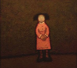 Painting, Naive Art -  Girl in a pink dress