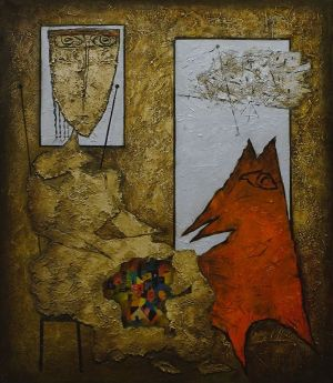Painting, Primitivism - Orange dog