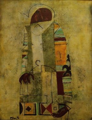 Painting, Primitivism - Old man with cage II