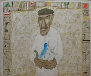 Painting, Primitivism -  Paper happiness seller