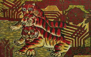 Painting, Expressionism - Three tigers