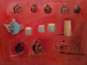 Painting, Expressionism - Red still life