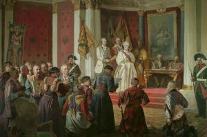 Painting, Historical genre - The great Charter of the Empress