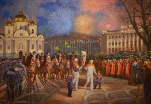Painting, Plot-themed genre - Olympic torch relay 2014