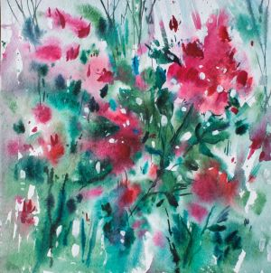 Painting, Seascape - in a flower meadow