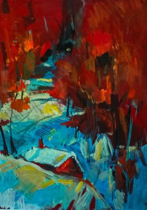 Painting, Expressionism - Wolf lair