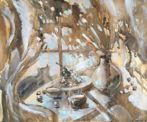 Painting, Still life - While morning tea freezes