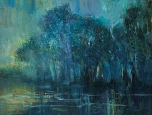 Painting, Expressionism -  Spring flood. Dawn