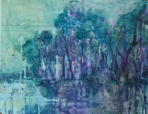 Painting, Expressionism - Spring flood. Lilac sunset.
