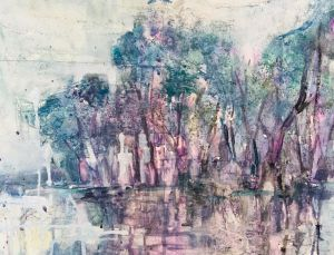 Painting, Tempera - Spring flood. Lilac sunset.