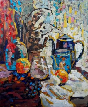Painting, Still life - Still life with a kettle