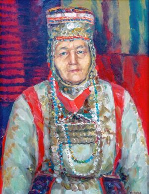 Painting, Portrait - The woman in the Chuvash national costume