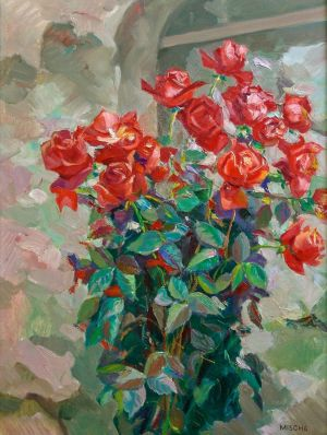 Painting, Realism - Bouquet of roses