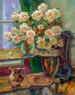 Painting, Realism - Bouquet of tea roses