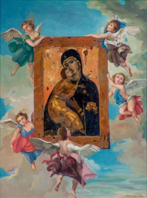 Painting, Realism - The return of the icon of our lady of Vladimir