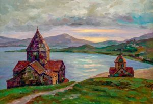 Painting, Realism - Church Of The Holy Apostles. (Sevan Lake.)