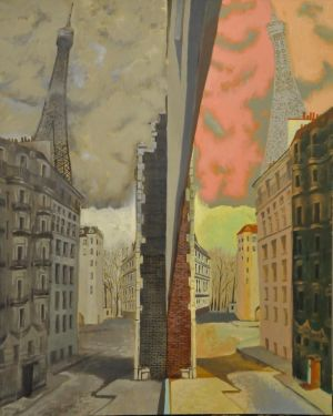 Painting, City landscape - Paris. Reality vs Imagination.