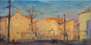 Painting, Impressionism - sunny city