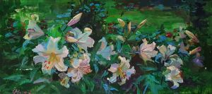 Painting, Still life - White lilies