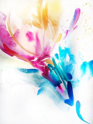 Painting, Abstractionism - Abstract Flower.