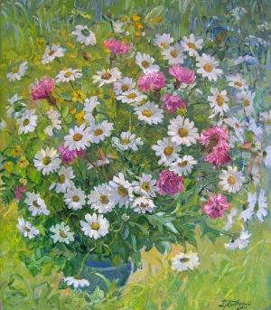 Painting, Still life - Bouquet of Daisies