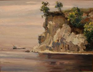 Painting, Realism - Cliff on Volga