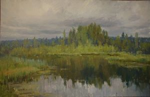 Painting, Landscape - Lake in the Imatra. Finland.