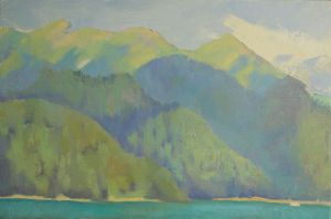 Painting, Landscape - Mountains on lake Ritsa