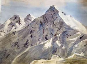Painting, Landscape - The snowy peaks of the Rosa Khutor
