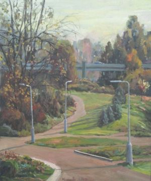 Painting, City landscape - autumn in the Park