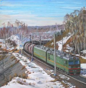 Painting, Landscape - train