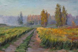 Painting, Landscape - in the morning haze