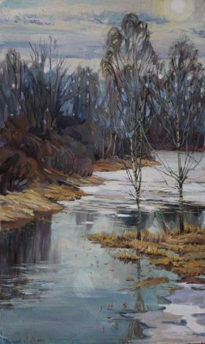 Painting, Landscape - the pond melted