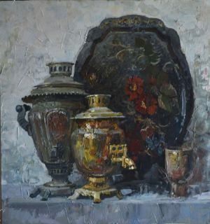 Painting, Realism - still life with samovars