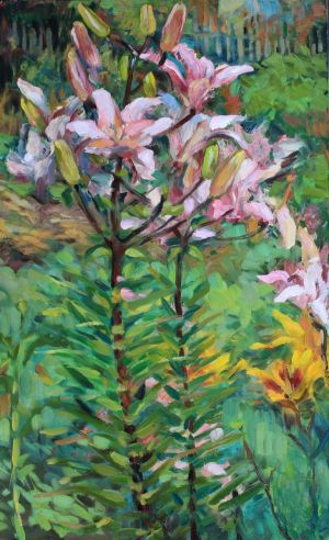 Painting, Impressionism - The Pink lilies in the garden