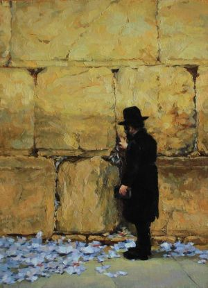 Painting, Realism - At the Wailing Wall