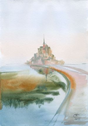 Graphics, Seascape - Island. Series Mont Saint Michel