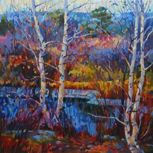 Painting, Landscape - birch juice