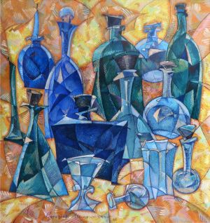 Painting, Suprematism - Vessels and bottles.