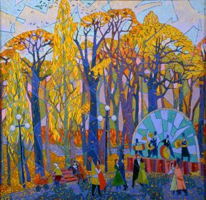 Painting, Acrylic - Waltz in autumn Park