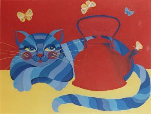 Painting, Animalistics - The cat and the kettle