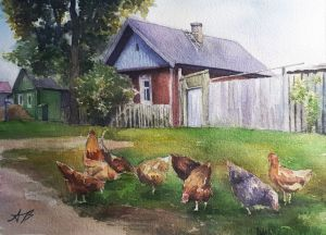 Graphics, City landscape - Rural landscape with chickens