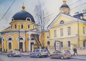 Graphics, City landscape - Moscow, Ordynka (work 1)