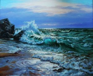 Painting, Realism - Japanese Sea