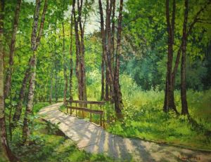 Painting, Landscape - Aleshkinsky forest. Moscow.